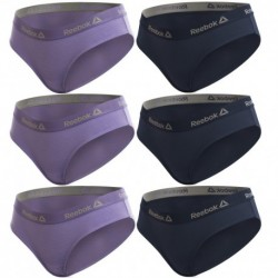 Talla XS: Set de Set 6 culottes deportivos para mujer REEBOK - Lila - Marino - 95% algodón 5% elastano