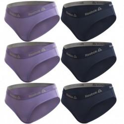 Talla L: Set de Set 6 culottes deportivos para mujer REEBOK - Lila - Marino - 95% algodón 5% elastano
