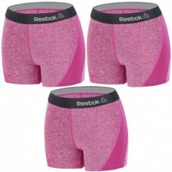 Talla L: Set 3 SHORTS deportivos deportivo para mujer REEBOK - cintura alta - Morado - 92% poliéster 8% elastano