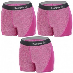 Talla M: Set 3 SHORTS deportivos deportivo para mujer REEBOK - cintura alta - Morado - 92% poliéster 8% elastano