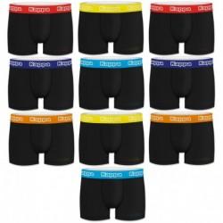Talla M: Set 10pcs BOXERS hombre - negros/cintura color - 100% algodón