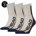 "39/42 Set 6 pares - calcetines ""running"" HEAD - unisex - Gris/Marino - talla 39/42"