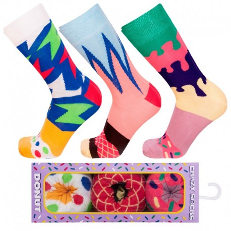 Talla: 39/42 3pares Calcetines de vestir en caja - ideal para regalo - Algodón BIO- Crazy Socks - divertidos y originales