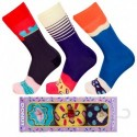 Talla: 39/42 3pares Calcetines de vestir en caja - ideal para regalo - Algodón BIO- Crazy Socks - divertidos y originales