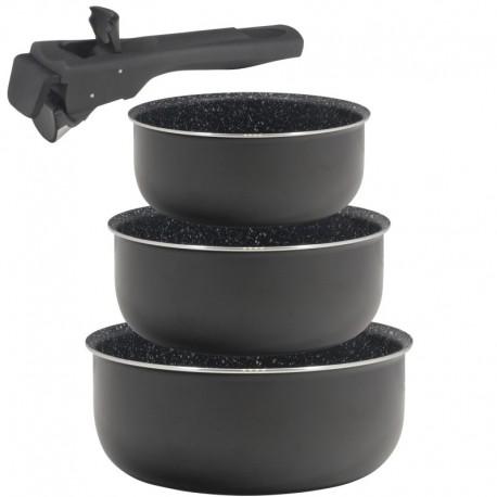 Set 3 cazos 16+18+20cm aluminio prensado apta inducción Click & cook black CON mango Click & cook