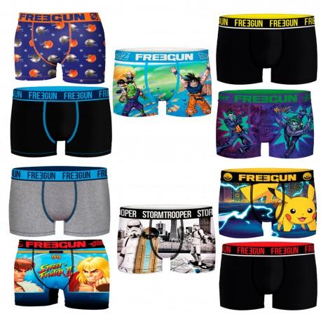 Talla S: Pack de 10 boxers FREEGUN aleatorio