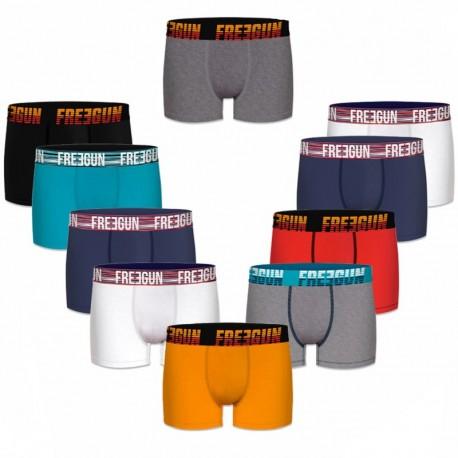 Talla L: Set 10 Boxers básicos FREEGUN, 90% algodón 10% elastano, multicolor