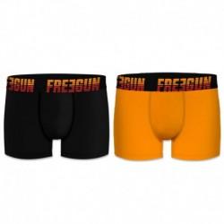 Talla S: Set 2 Boxers básicos FREEGUN, 95% algodón 5% elastano, multicolor Negro/Amarillo