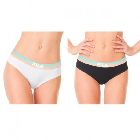 Talla S: Pack 2 Slips deportivos FILA - Negro Blanco - 95% algodón 5% elastano