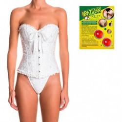 Pack corset Atenea en color blanco y 2 bolas de aceite de coco con aroma de frutas