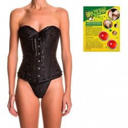 Pack corset Atenea en color negro y 2 bolas de aceite de coco con aroma de frutas