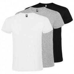 Pack de 30 camisetas de manga corta Roly de color blanco, negro y gris con cuello redondo doble