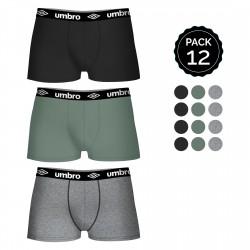 Pack 12 calzoncillos UMBRO en varios colores para hombre