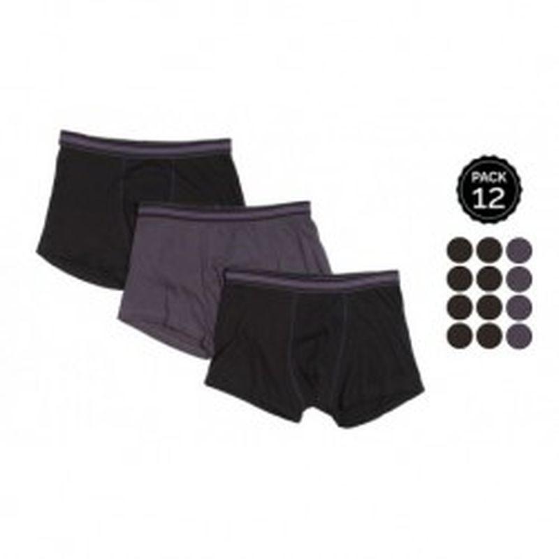 Set 12 Boxers MARGINAL 8Negro+4Gris - 65% polyester 35% algodón - Talla L