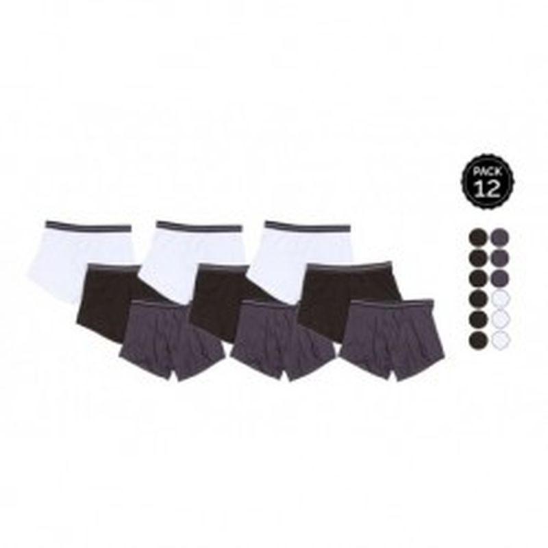 Set 12 Boxers MARGINAL 6Negro+3Gris+3Blanco - 65% polyester 35% algodón - Talla M