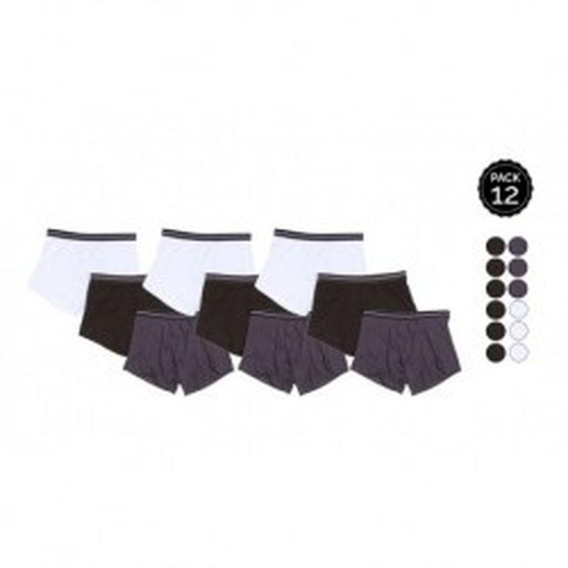 Set 12 Boxers MARGINAL 6Negro+3Gris+3Blanco - 65% polyester 35% algodón - Talla S