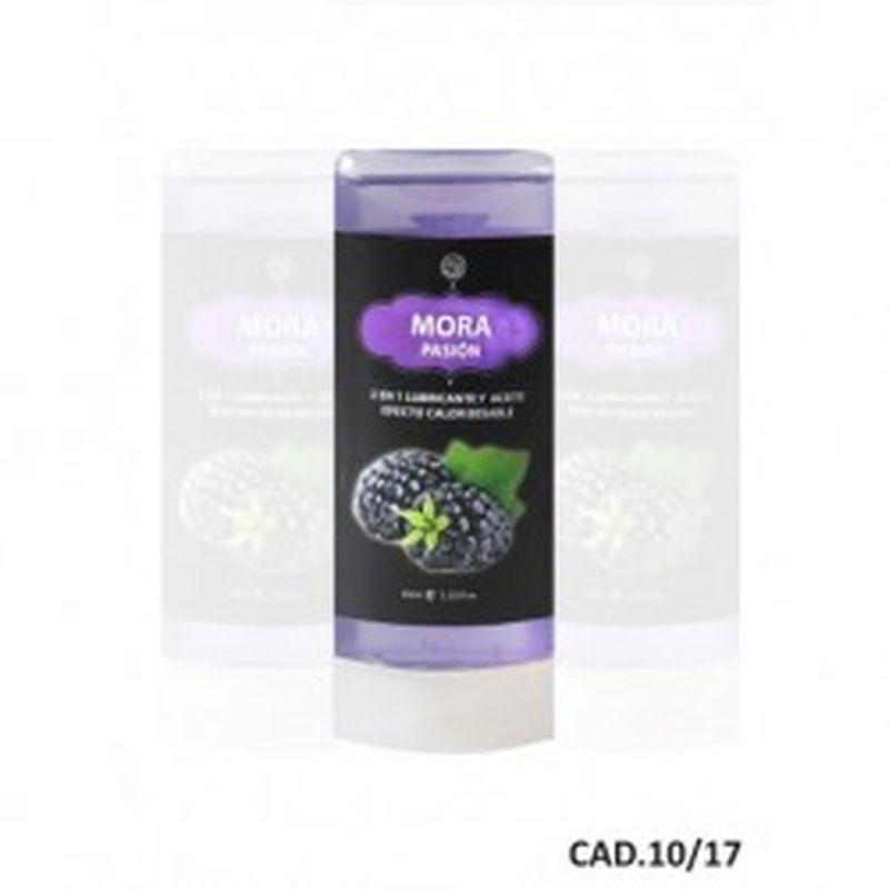 LUBRICANTE Y ACEITE 2 en 1 EFECTO CALOR MORA, 45 ml.